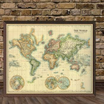 Art Print Vintage Retro The World Map Paper Poster Large - $50.00